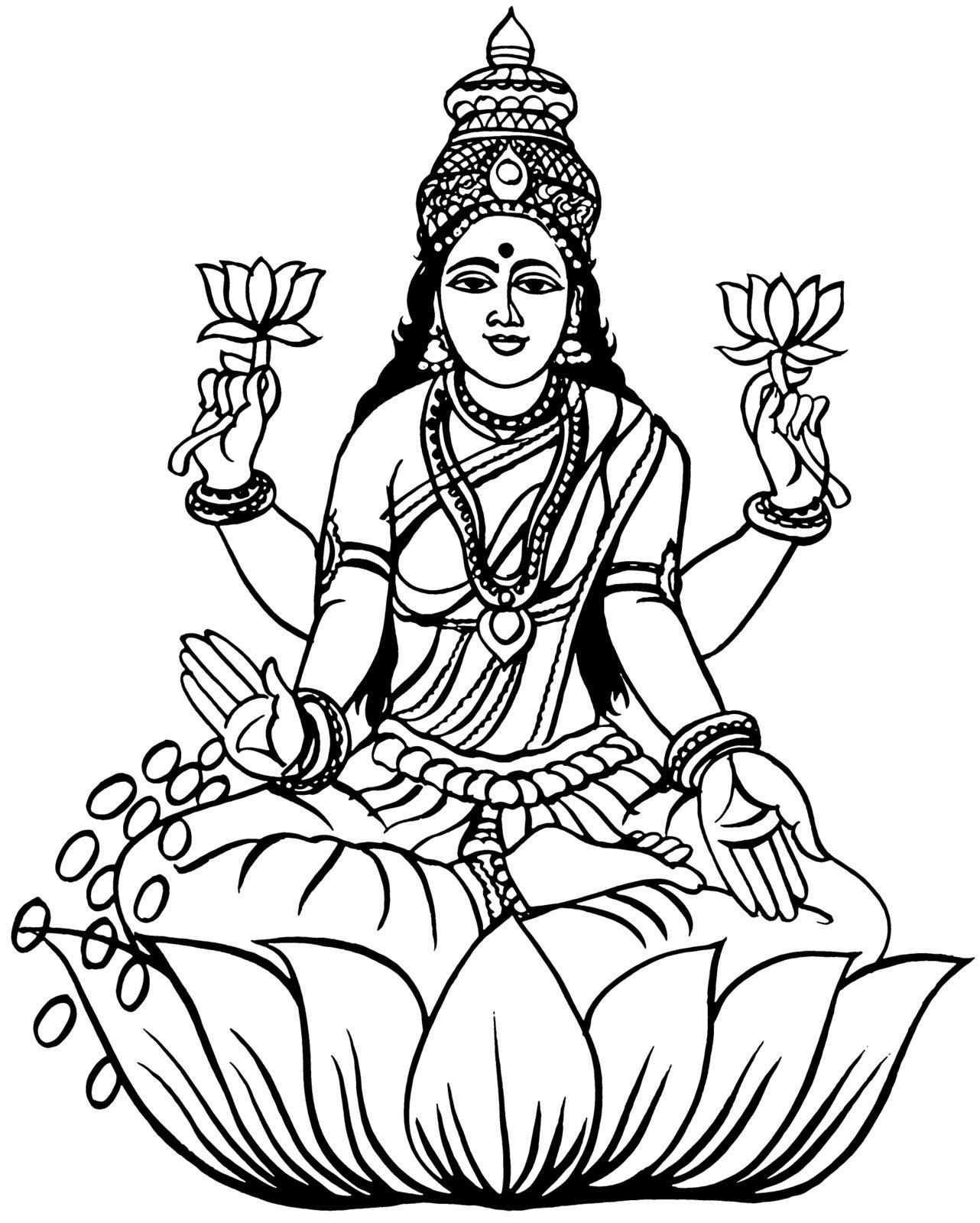 God clipart god indian. Gods laxmi draws in