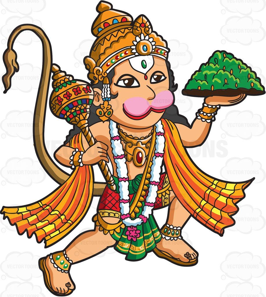 The hanuman cartoon vector. God clipart hindu god