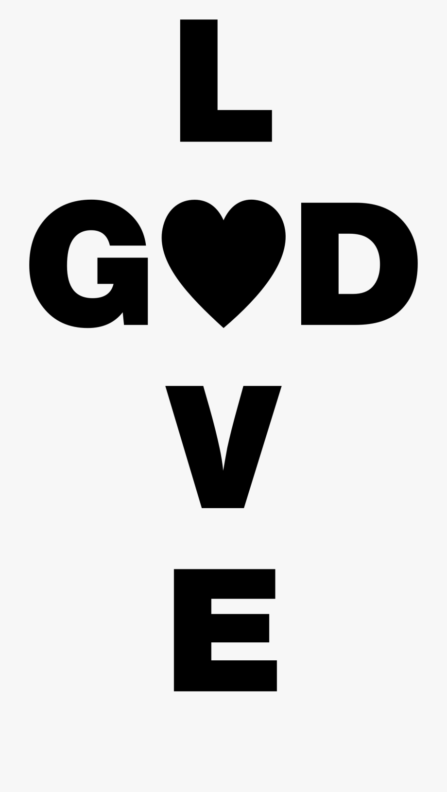 Love is black and. God clipart logo