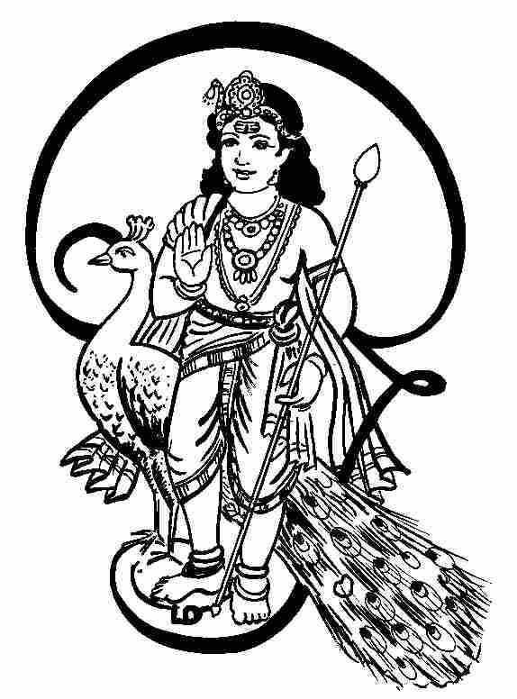 Svc line art pattern. God clipart murugan