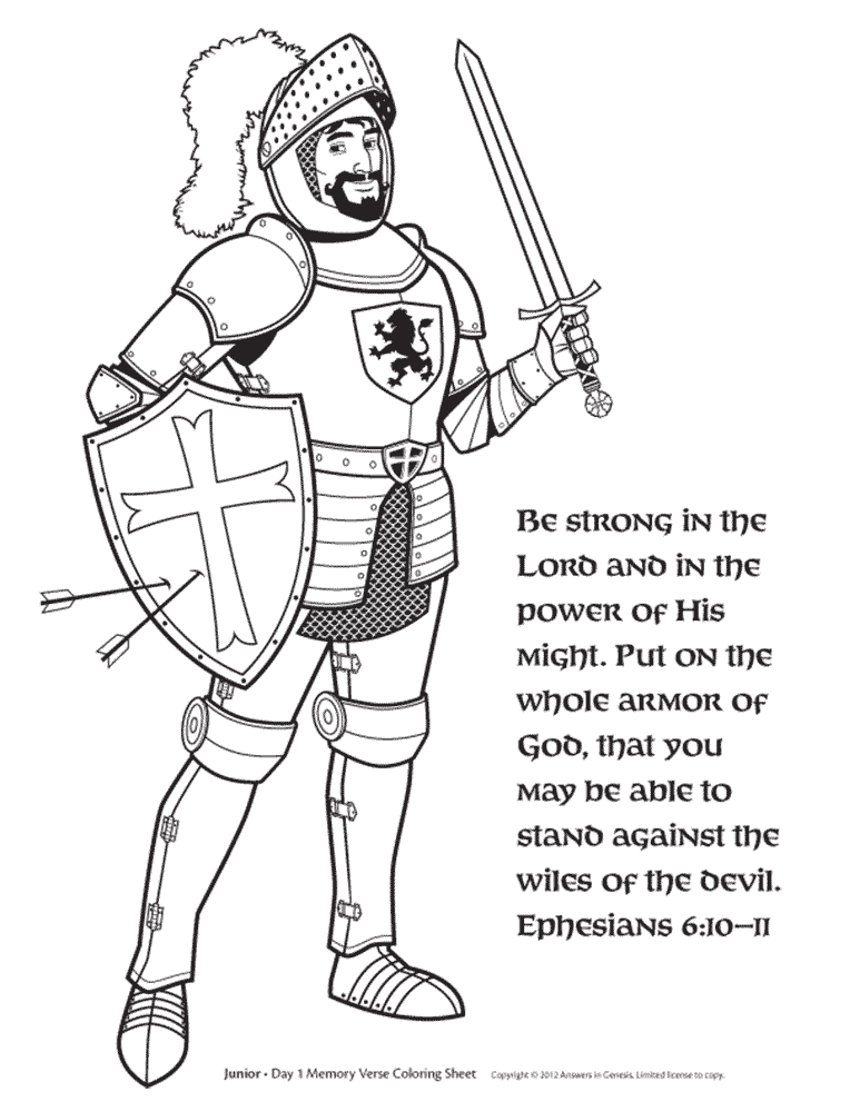 Eph free knight coloring. God clipart standing on promise