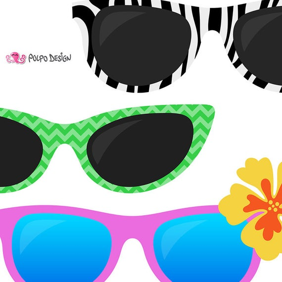 sunglasses digital clip. Goggles clipart pool party