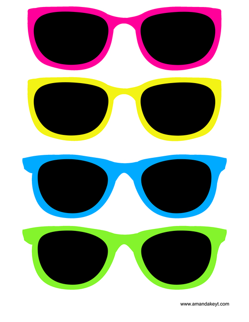 Goggles clipart pool party. Instant download neon printable