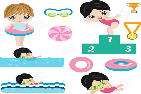 Swimmer girl swimming . Goggles clipart pool party