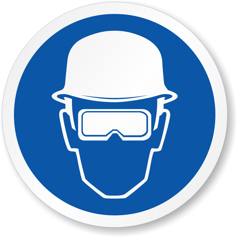 Wear eye protection signs. Goggles clipart ppe
