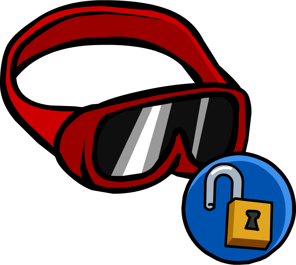 Goggles clipart red glass. Ski club penguin wiki