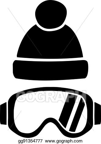 Vector art with hat. Skiing clipart ski goggles