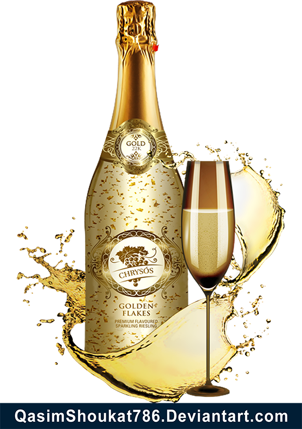 Free champagne and glass. Gold bottle png