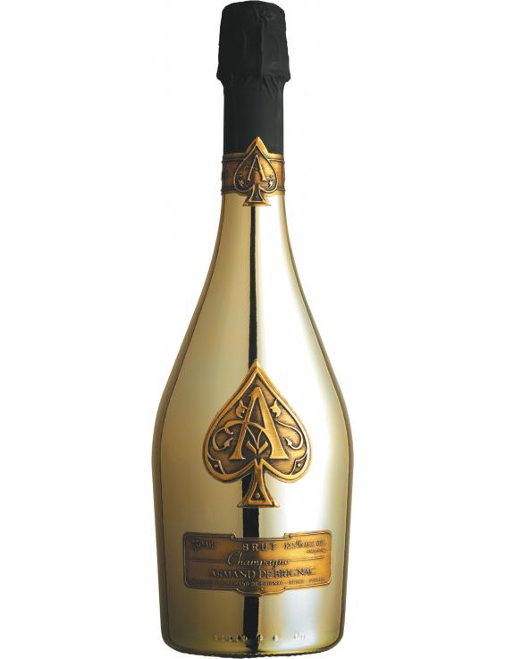 Champagne armand de brignac. Gold bottle png