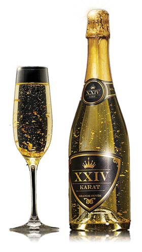 Gold bottle png. Grande cuvee with flakes