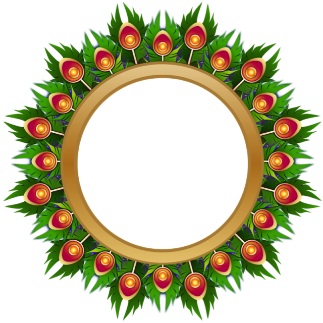Peacock in the middle. Gold circle frame png