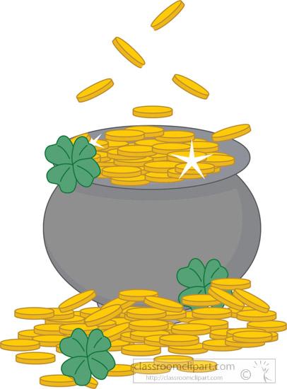 St patricks day pot. Gold clipart
