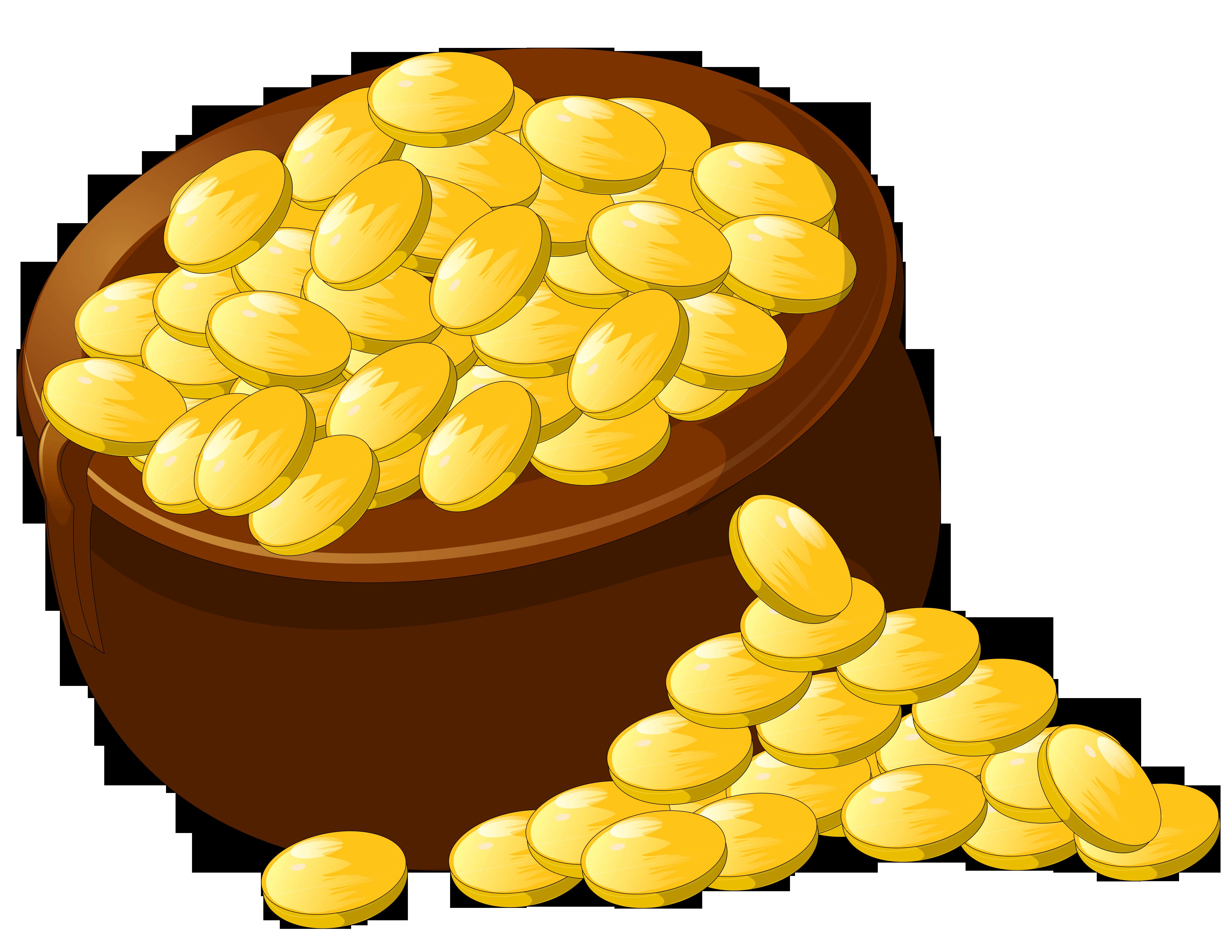 Transparent pot of gold. Treasure clipart golden
