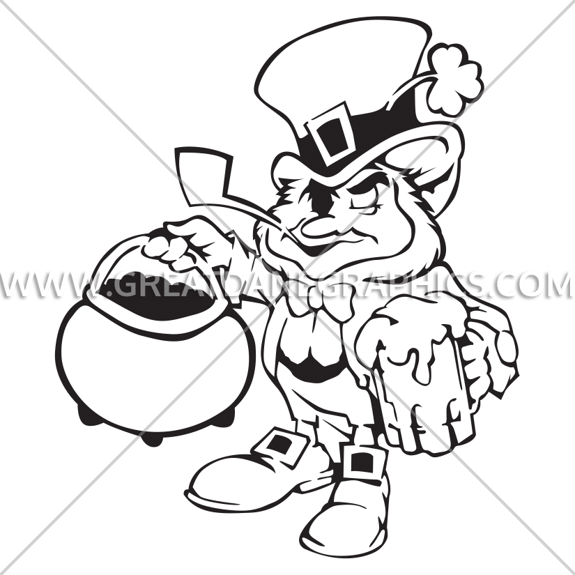 Leprechaun pot of production. Gold clipart black and white