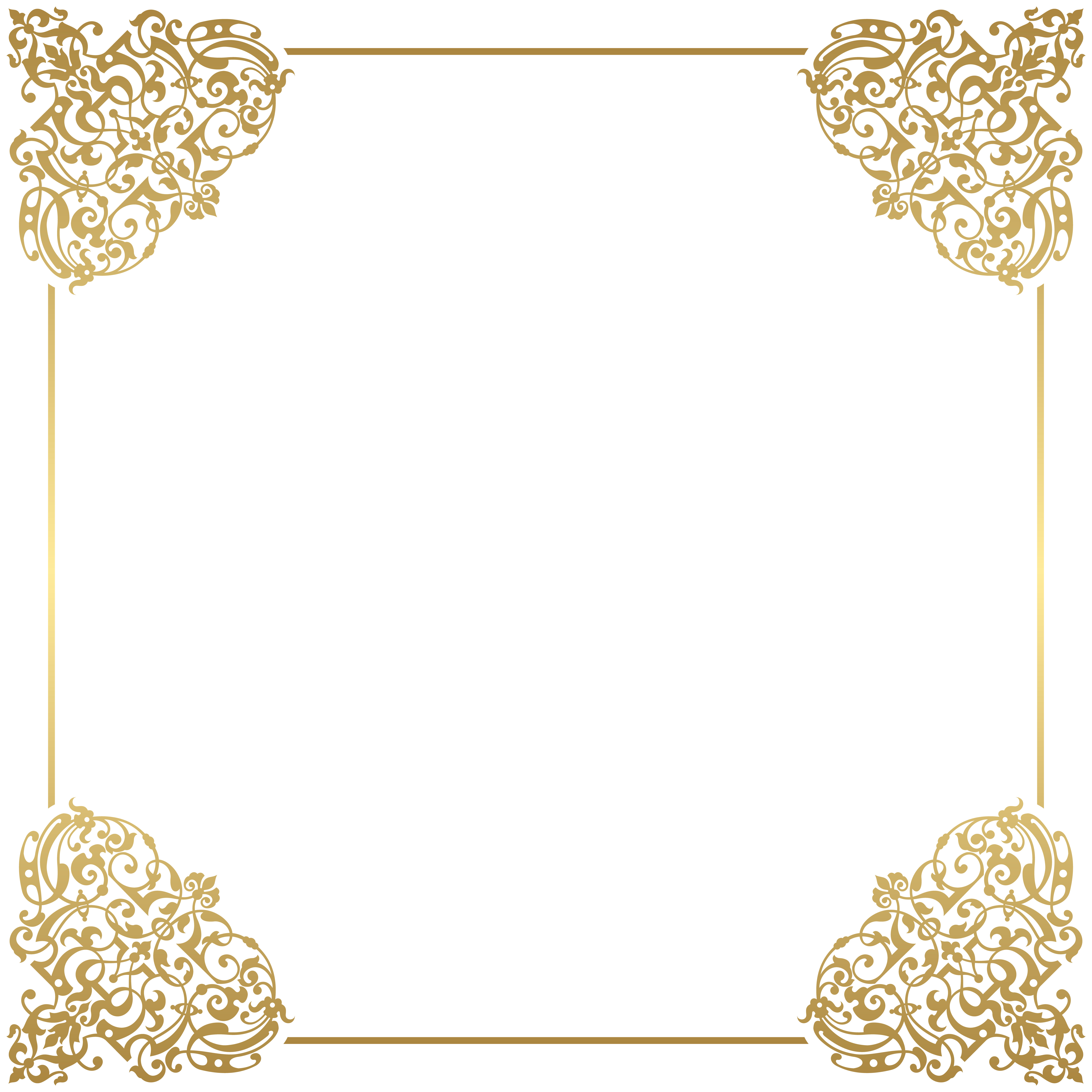 Gold frame clip gallery. Art deco border png