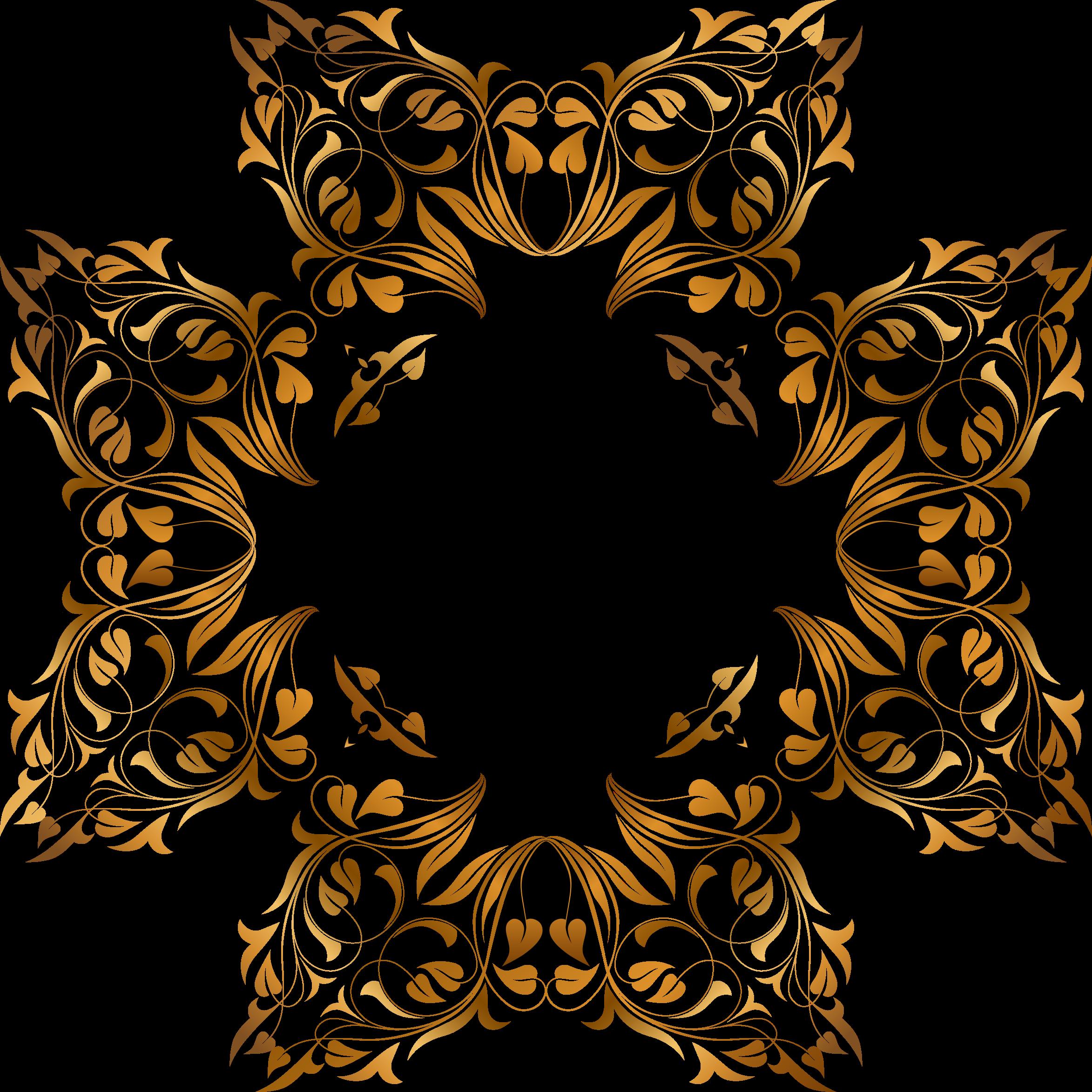 Gold clipart celebration. Floral flourish frame big