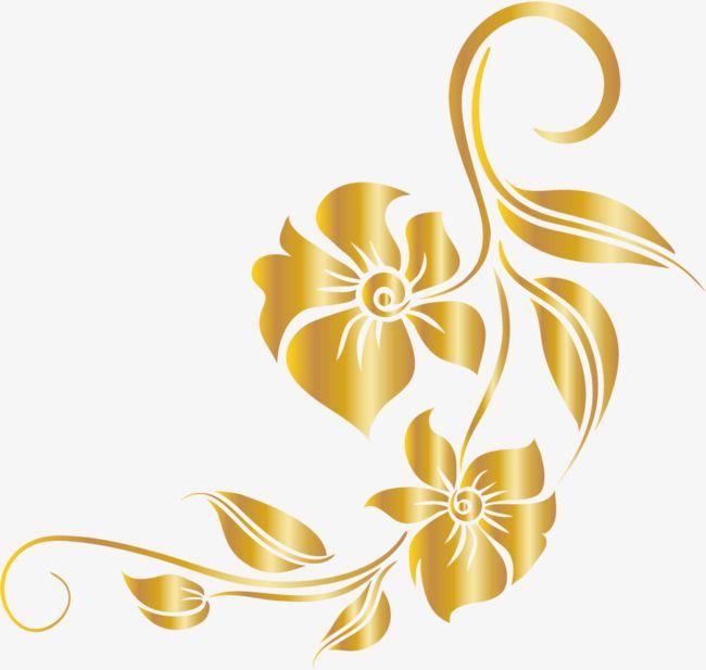 Vines clipart gold leaf. Luxury golden flower luxurious