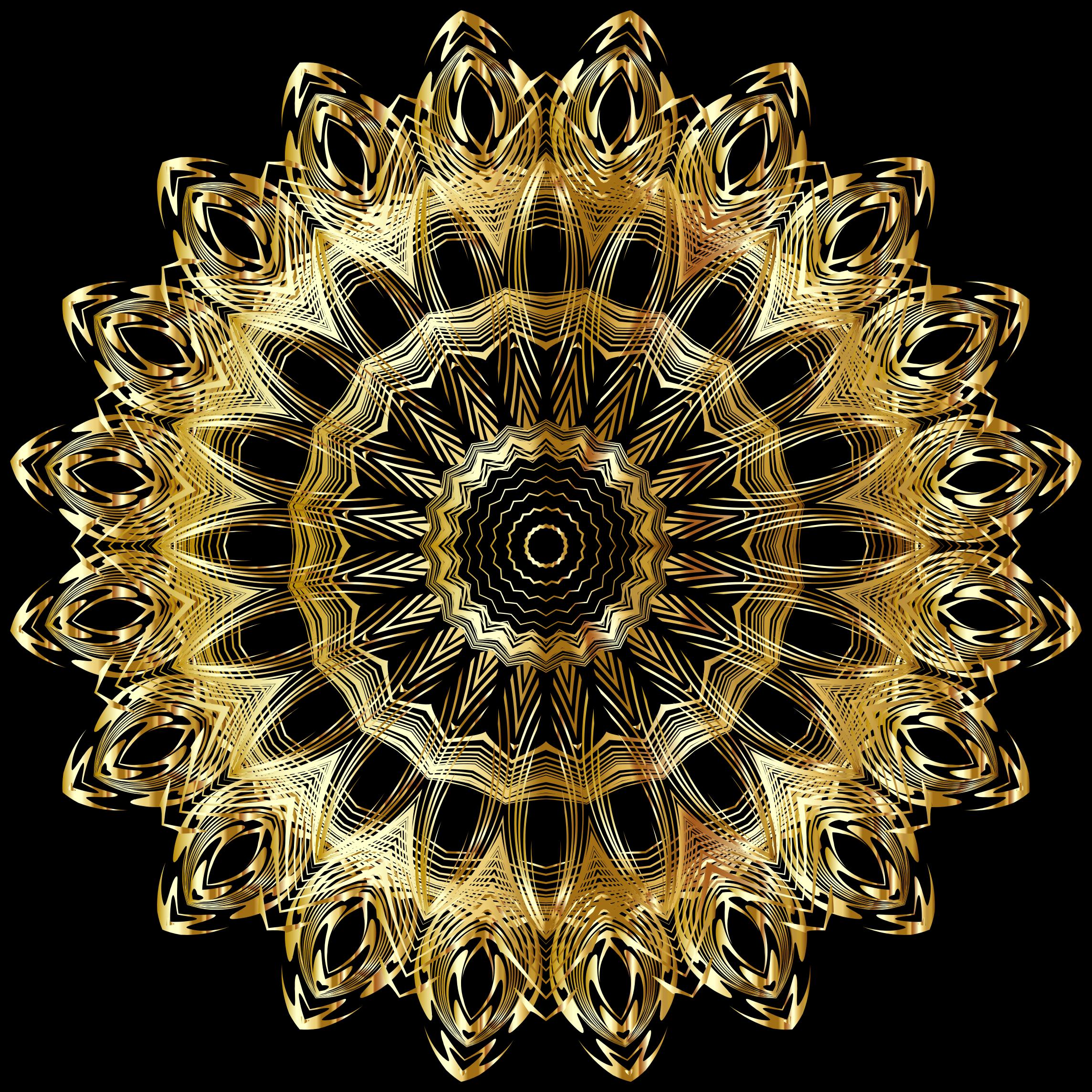 Chromatic mandala big image. Gold clipart line art