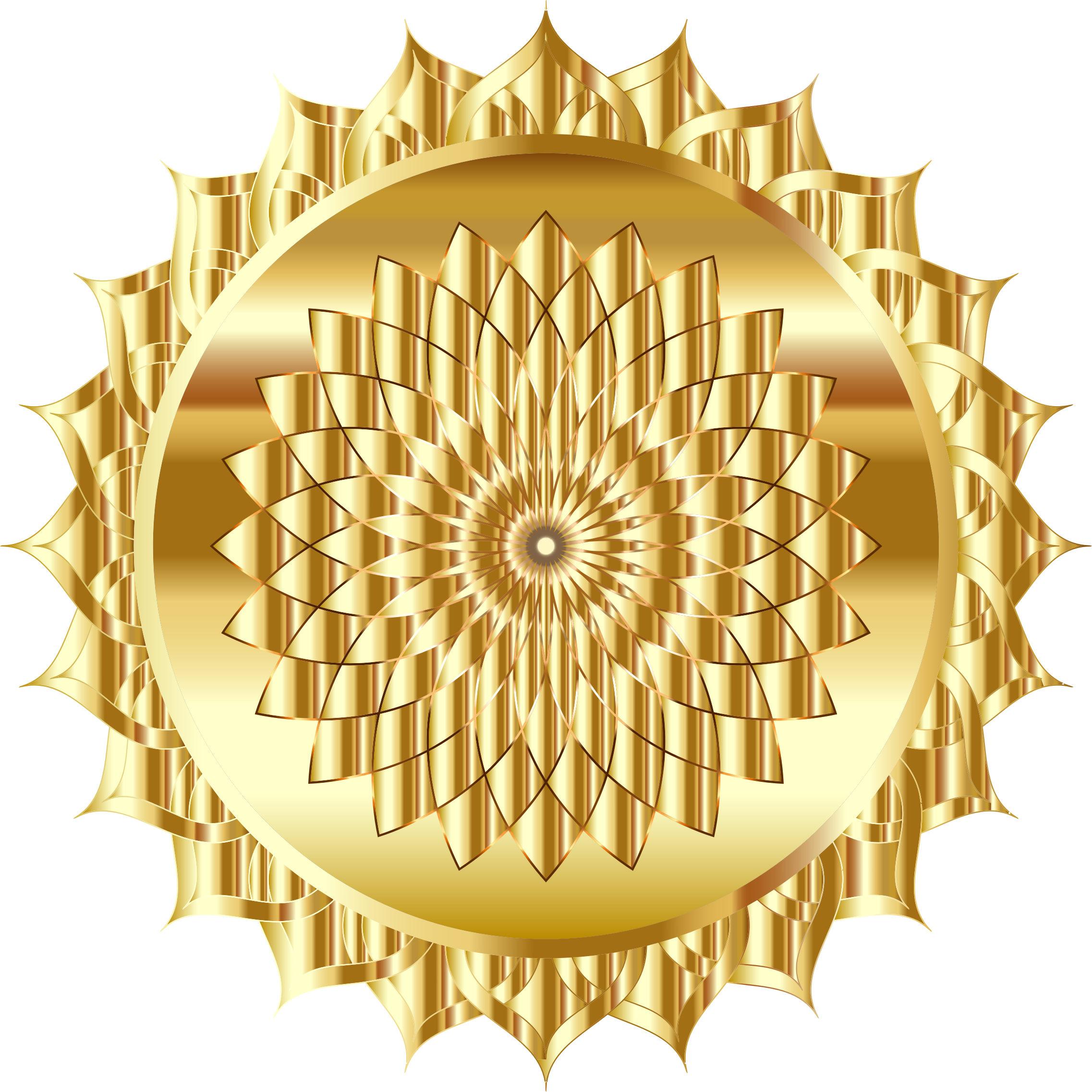 Golden mandala big image. Gold clipart line art