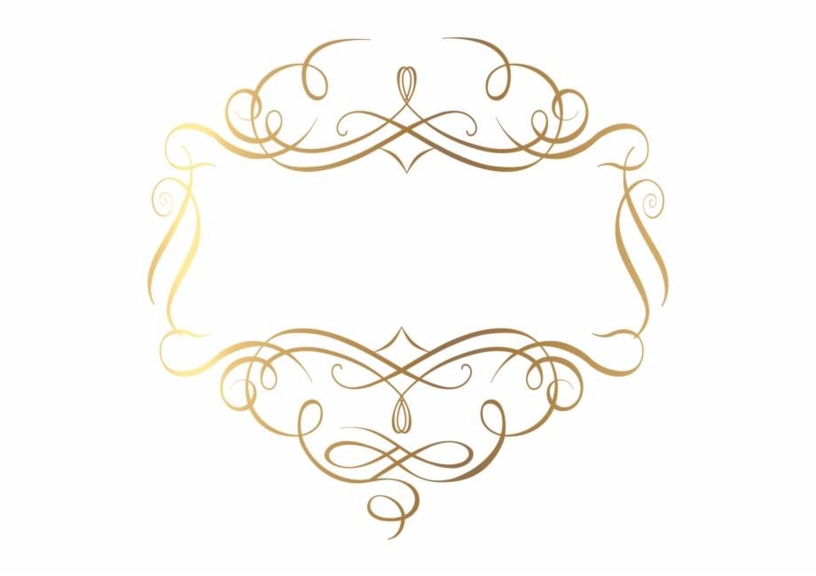 Element fancy border decorations. Gold clipart line art