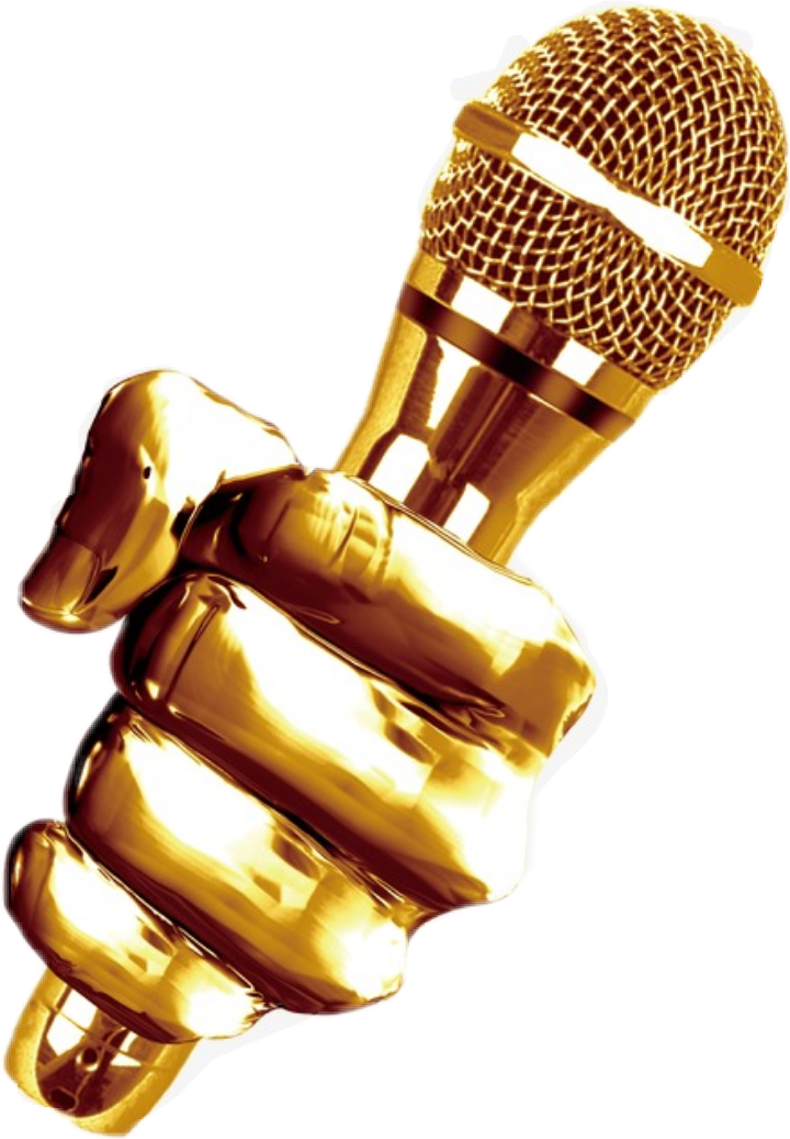 Gold clipart microphone. Golden music onstage dj