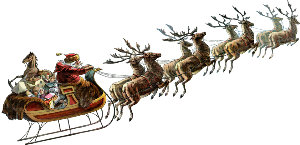 Gold clipart reindeer. Santa sleigh png images