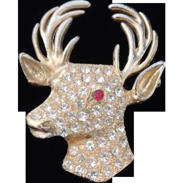 Gold clipart reindeer. Vintage christmas head brooch
