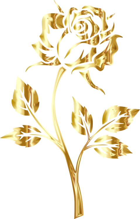 Rose floral design free. Gold flower png