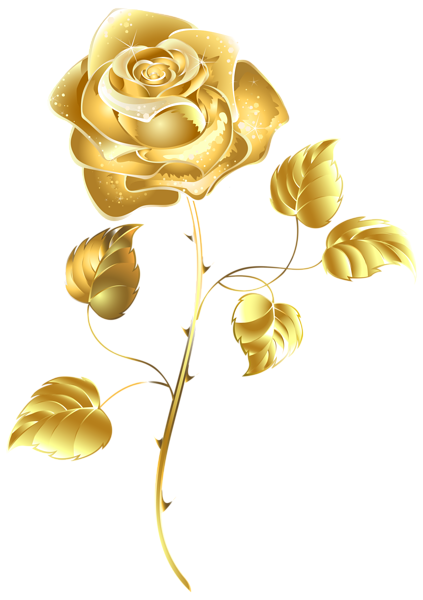 Beautiful rose clip art. Gold flower png