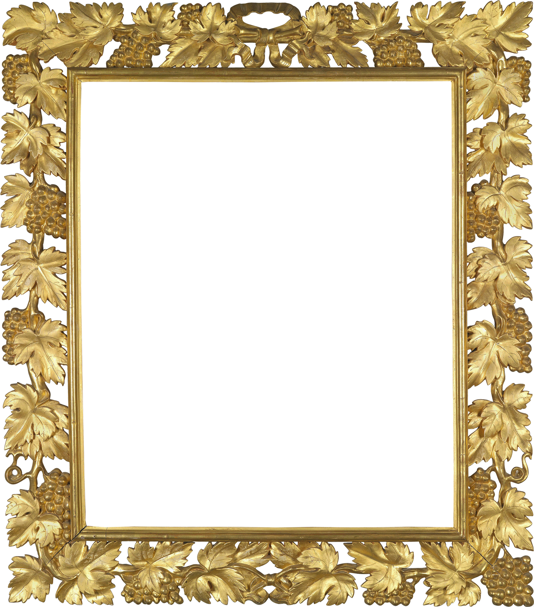 Transparent photo with vine. Gold frame png