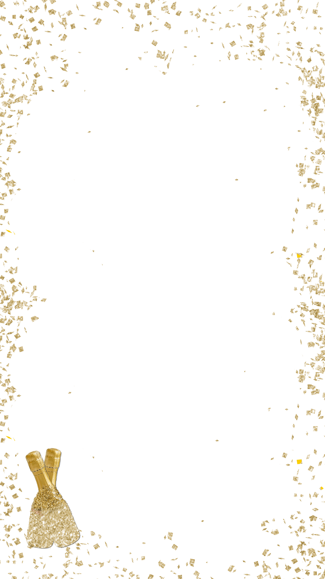Champagne bottles birthday snapchat. Gold glitter border png