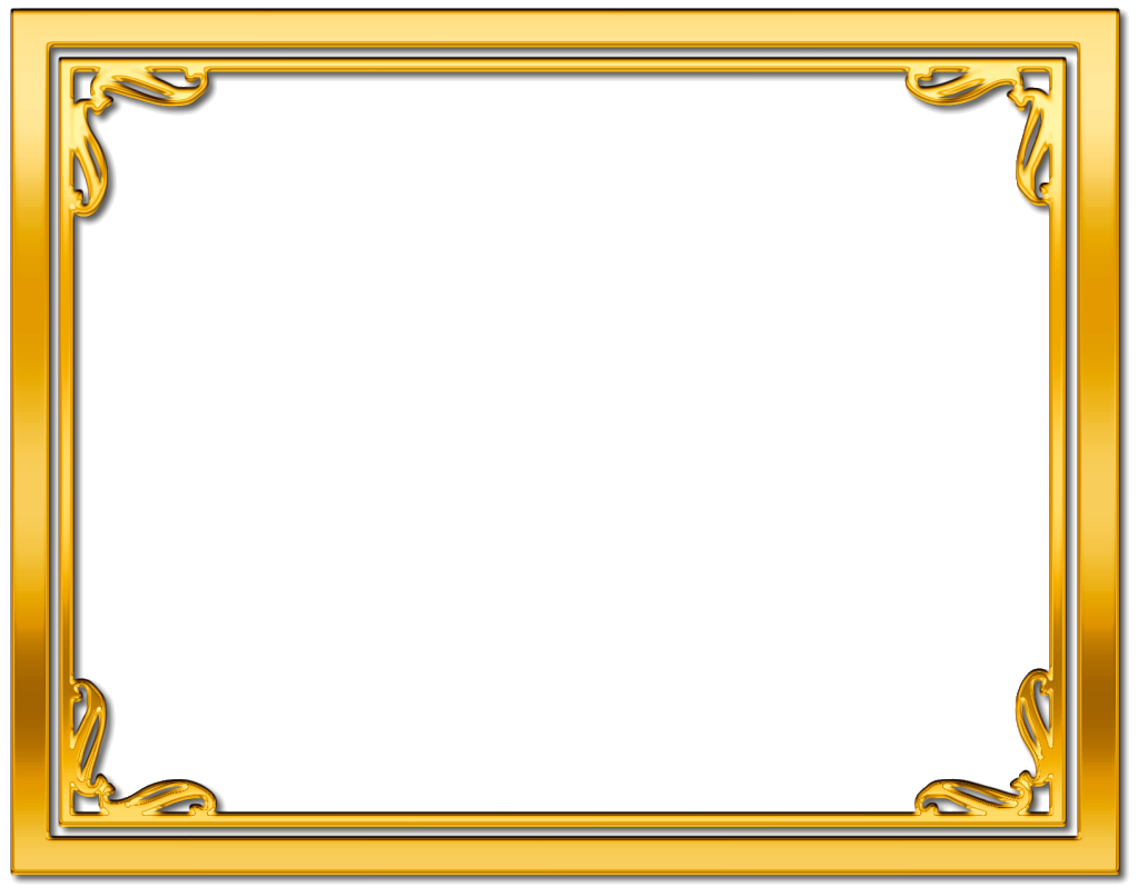 Golden border png. Gold frame design plain