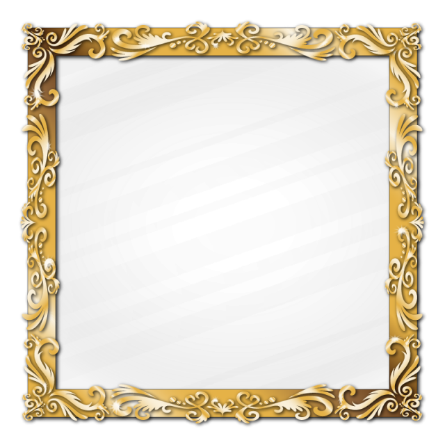 Golden frame png. Classic ornament picture border