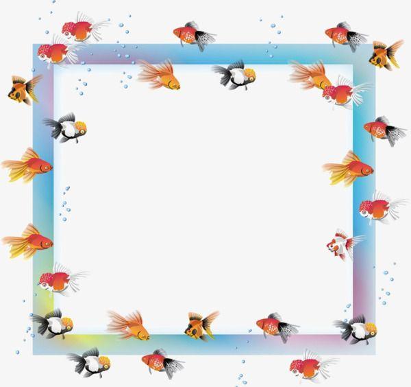 Naloge label paper frame. Goldfish clipart border