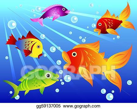 Goldfish clipart colorful fish. Vector stock fun illustration