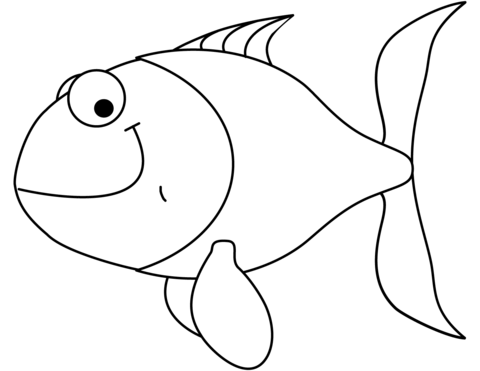 Goldfish clipart coloring page. Cartoon free printable pages
