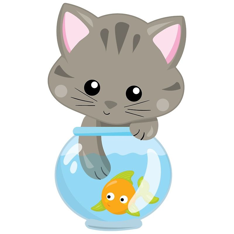 Cute kitty cat and. Goldfish clipart girly