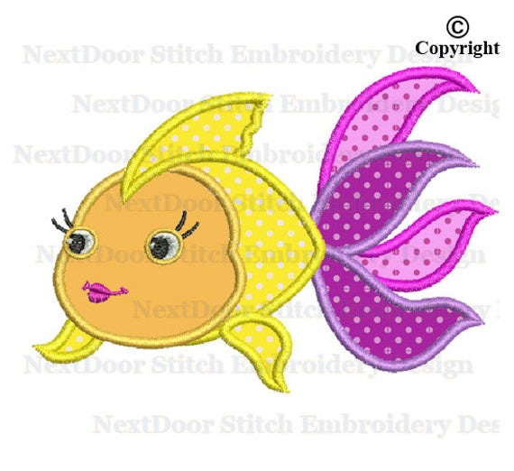Goldfish clipart girly. Colorful embroidery design gold
