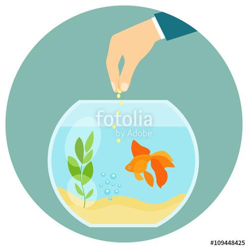 In aquarium isolated feeding. Goldfish clipart goldfish food