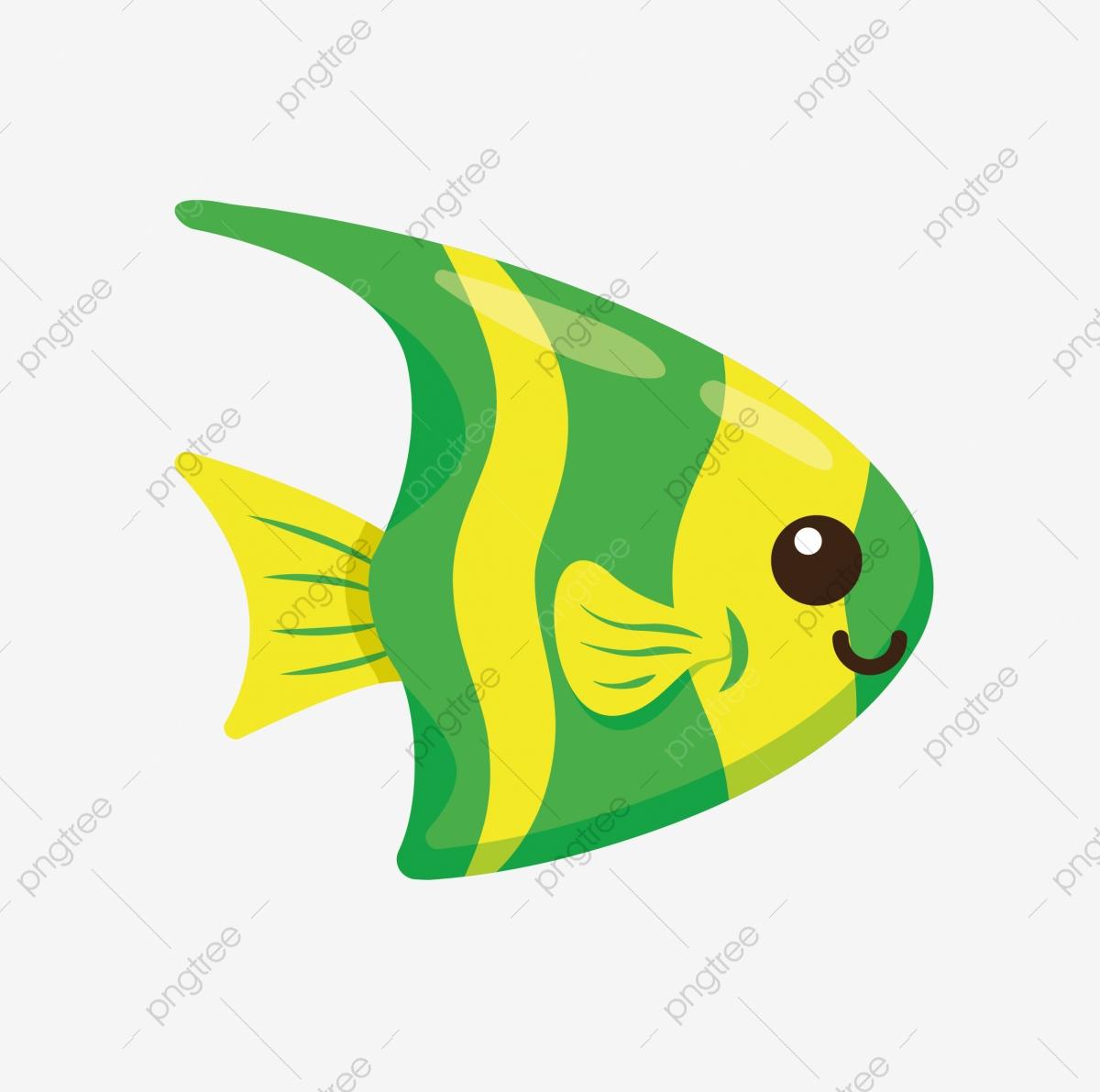 Ornamental fish through cartoon. Goldfish clipart green