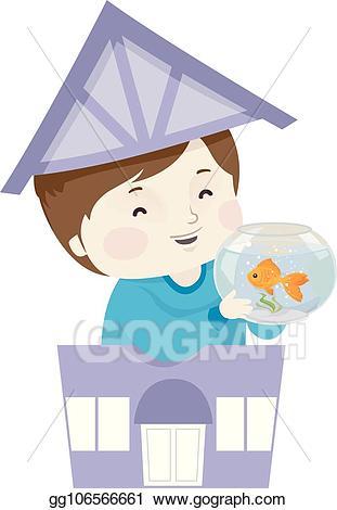 Goldfish clipart kid. Vector art boy pet