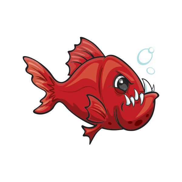 Printed vinyl angry red. Tooth clipart fish