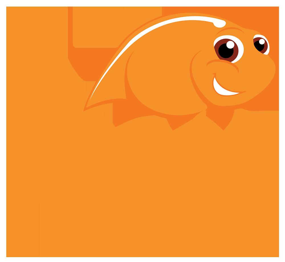 Our story russell aquatics. Goldfish clipart mascot