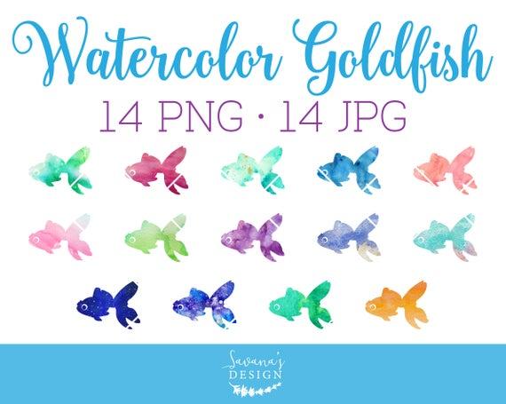 Watercolor clip art . Goldfish clipart sea fish