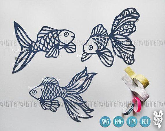 Goldfish clipart svg. Bundle gold fish template