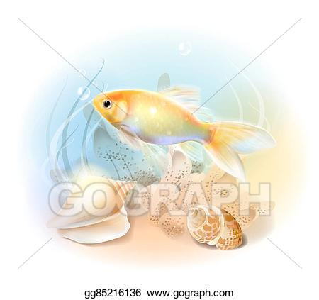 Vector stock in the. Goldfish clipart under sea