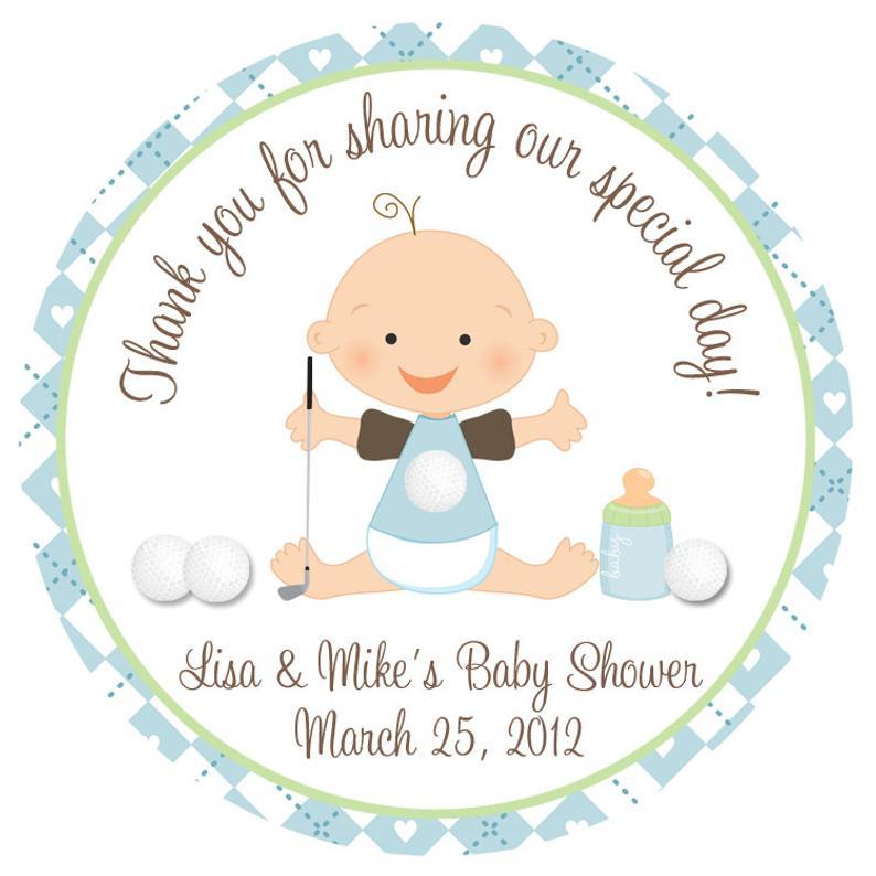 Golf clipart baby. Shower sticker boy personalized