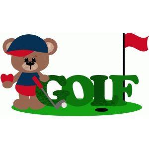 Golf clipart baby. I love bear golfing