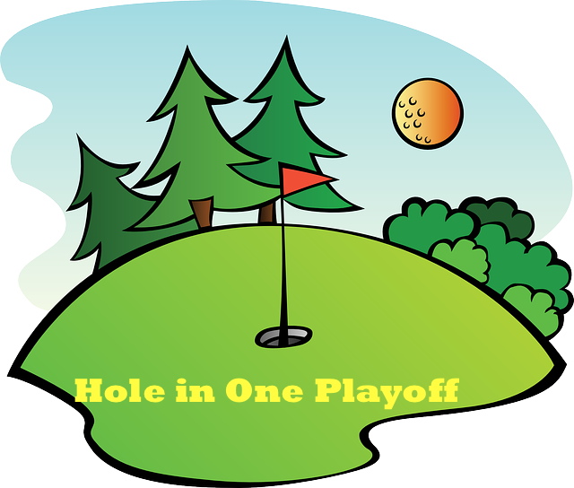 Hole in one playoff. Golf clipart driving range