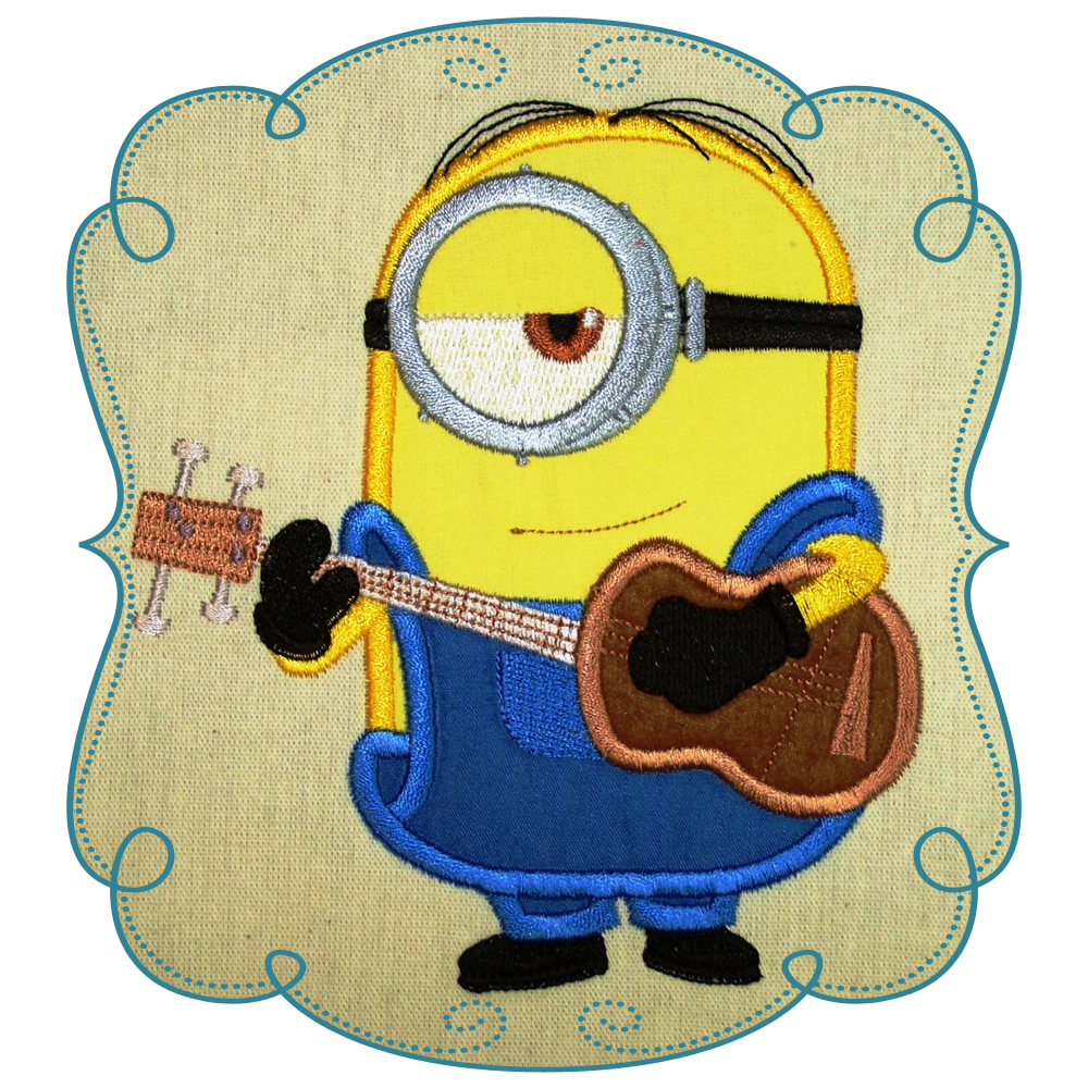 Minion machine embroidery applique. Valentine clipart minions